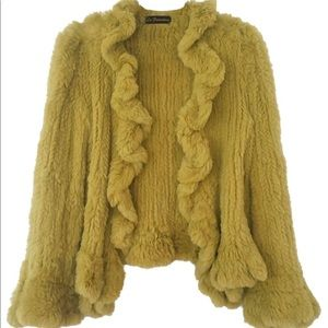 90s VINTAGE LA FIORENTINA yellow fur coat L